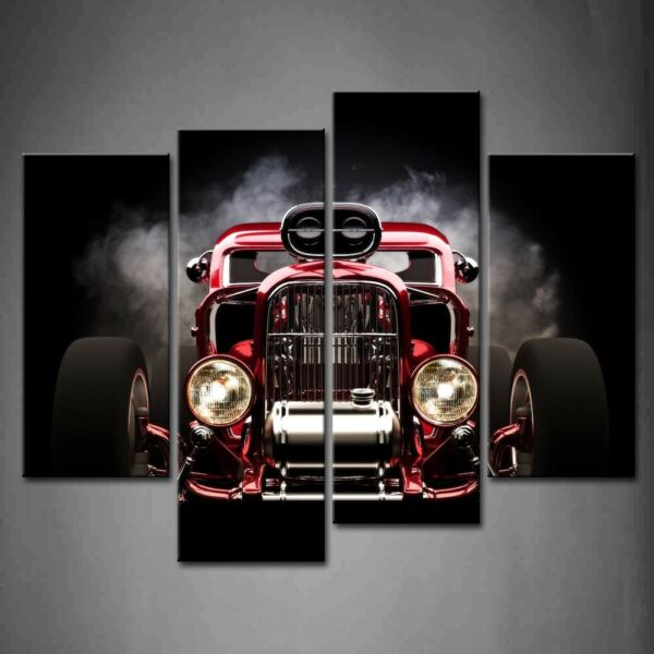 Framed Wall Art Red Auto Black Background Painting Print On Canvas Car Pictures