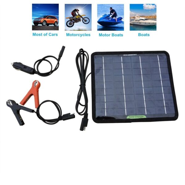 Solar Battery Maintainer Charger Car Trickle Motorcycle Tender Auto Boat 12 Volt $30.58