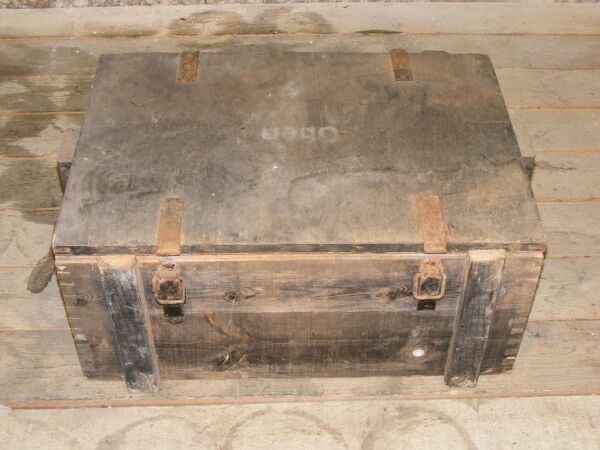 OLD AMMUNITION CRATE WOODEN CHEST materialkiste Crate 6 Metal Fittings WWII WH