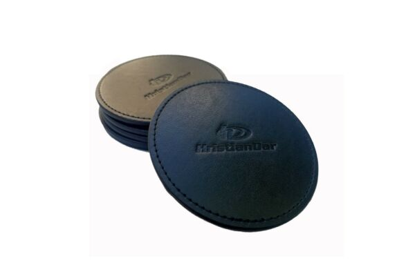 HristianDar Black Round Leather Drink Coasters with Holder Set of 6 3.9 inch