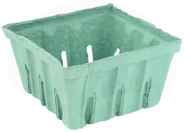 Berry Basket Container Green Pulp Fiber Vented 1 Quart Produce Holder -15 Pieces