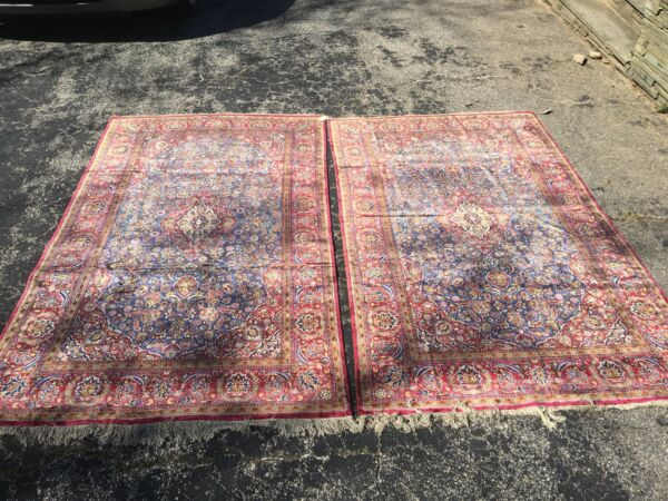 "Antique Silk Rugs pair 7'2"" x 4'4""- both in Perfect Condition"