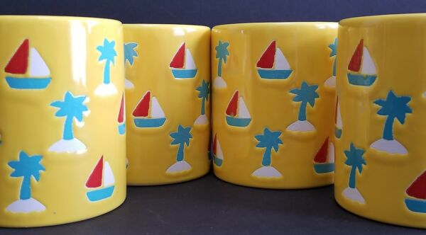 WAECHTERSBACH YELLOW COFFEE MUGS SET 4  NAUTiCAL SAIL BOATS PALM TREE W. GERMANY