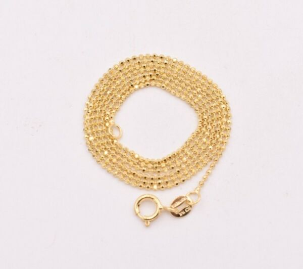 1mm Round Diamond Cut Bead Ball Chain Necklace Real Solid 14K Yellow Gold $93.63