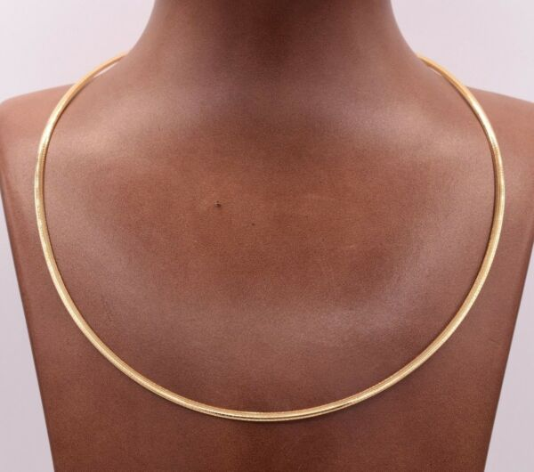 2.5mm Italian Reversible Omega Chain Necklace 14K Yellow Gold Clad Silver 925