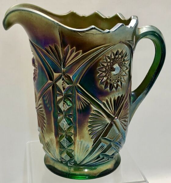 ANTIQUE GREEN MILLERSBURG CARNIVAL GLASS MARILYN HOBSTAR DIAMONDS WATER PITCHER