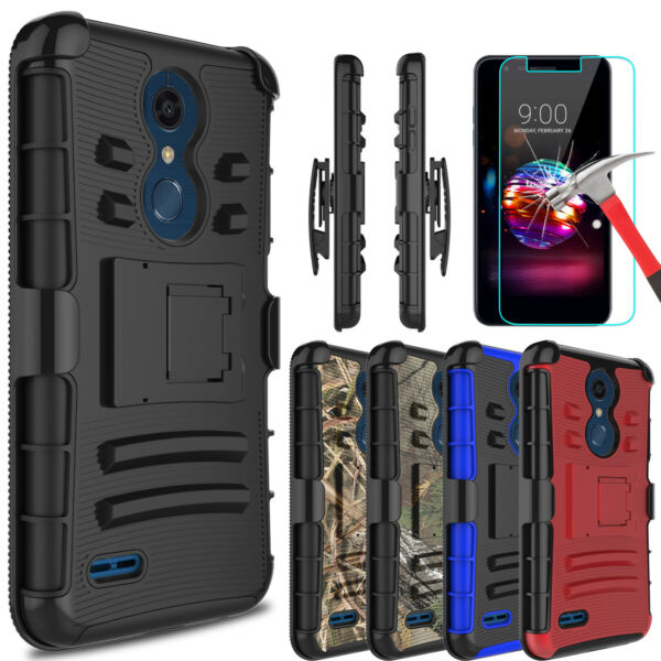 For LG K30Premier Pro LTE Armor Case With Kickstand Belt Clip+Screen Protector