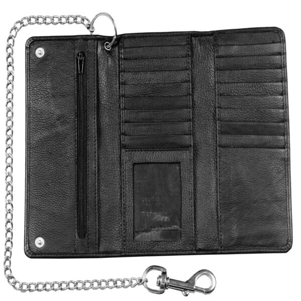 Genuine Cowhide Leather Trifold Long Chain Motorcycle Biker Trucker Wallet RFID $22.99