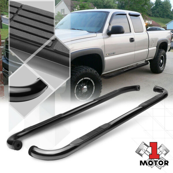 Black 3quot;Side Step Nerf Bar Running Board for 99 19 Sierra Silverado Extended Cab