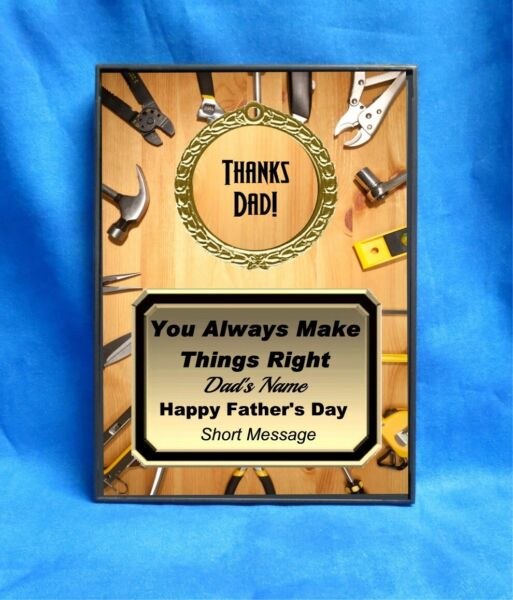 Tools Wood Thanks Dad Custom Personalized Award Plaque Gift Fathers Day Father