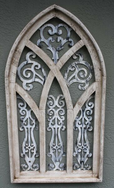 Wooden Antique Style Church WINDOW Frame Primitive Wood Gothic 30 1 2quot; Shabby