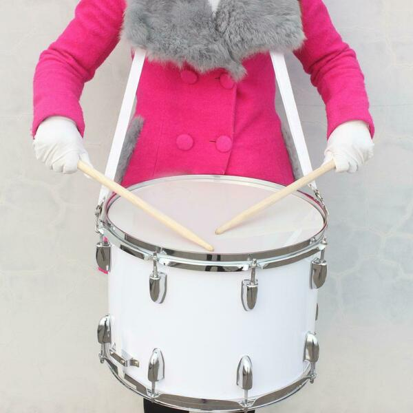 New School Band Silver Marching Snare Drum w Drumstick Key Strap