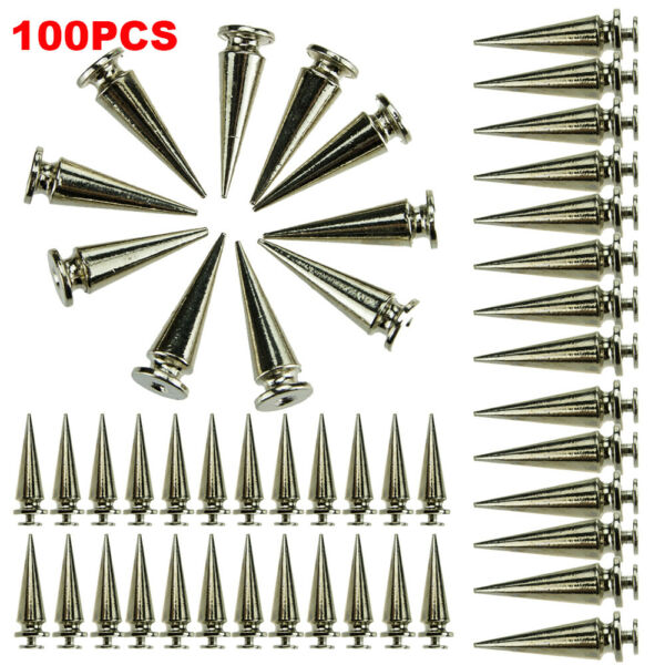100pc 26mm Silver Spots Cone Screw Metal Studs Leather Craft Rivet Bullet Spikes