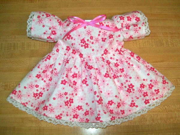 DRESS Rose Pink Flowers on white dress w lace trims for 16