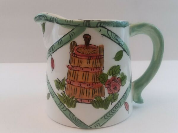 Small Lefton Green and White Creamer Number 1607 Beets Wooden Churn Floral