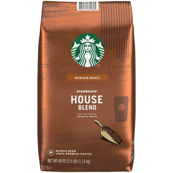 Starbucks House Blend Fresh Big Bag Bulk Whole Bean Flavor Aroma Coffee 40 Oz