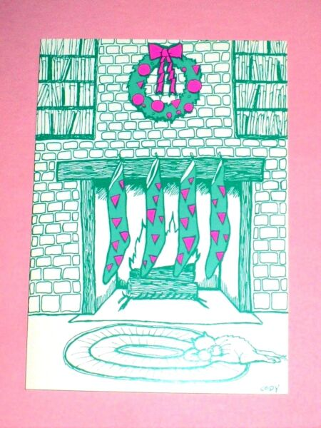 4 VINTAGE 1991 CHRISTMAS GREENPINK STOCKINGS FIREPLACE SIGNED CODY UNUSED CARDS