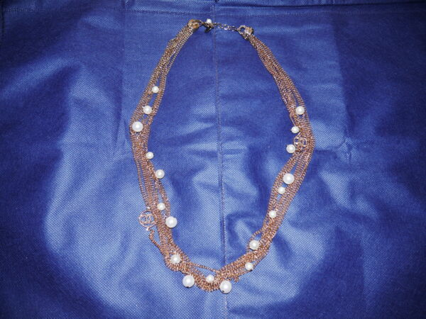 Authentic CHANEL Faux Pearl Gold Necklace Jewelry 32 Inches Clasp Great 2009