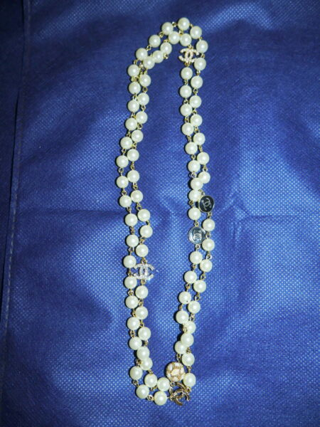 Authentic CHANEL Faux Pearl Logo Necklace Jewelry Gold Color 44 Inches 2009