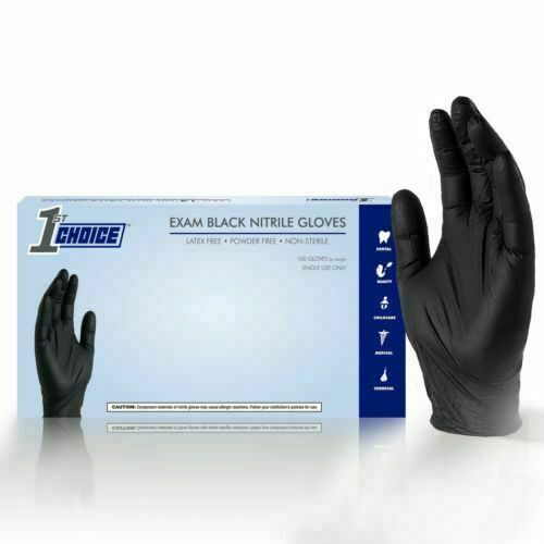 1st Choice Black Medical Nitrile Exam Latex Free Disposable Gloves - 1000/case