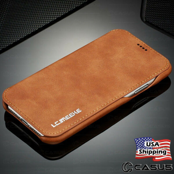 Luxury Leather Wallet Stand Thin Slim Case Cover for iPhone 12 11 Pro MAX 8 Plus $10.95