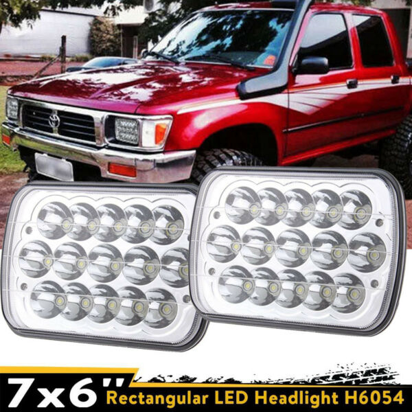 TOYOTA PICKUP TRUCK 7 X 6 INCH CHROME SEALED BEAM WHITE LED HEADLIGHT W/ H4 BULB