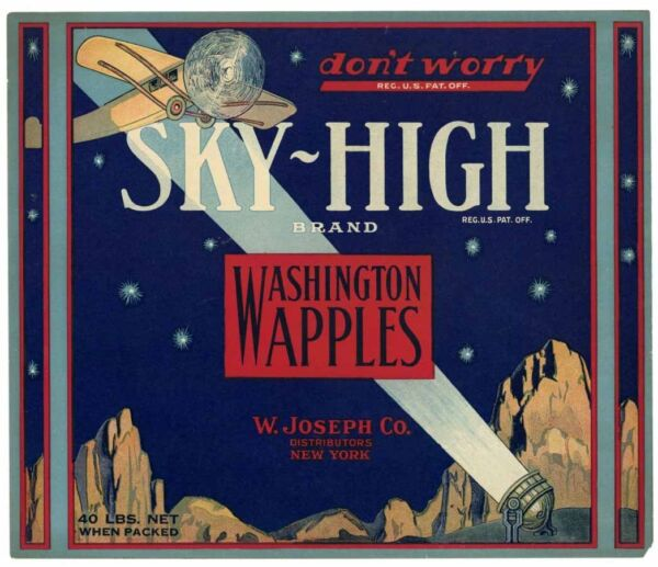 SKY-HIGH Brand Airplane **AN ORIGINAL APPLE CRATE LABEL** 121 red box wear
