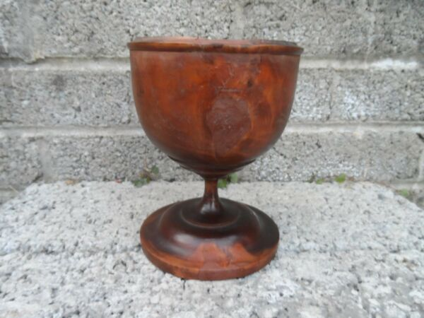 Antique treen chalice or goblet - turned wood - very rare 17-18th century