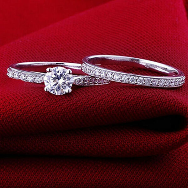 Women Engagement Wedding 2Pcs Set Cubic Zirconia Silver Plated Ring Jewelry