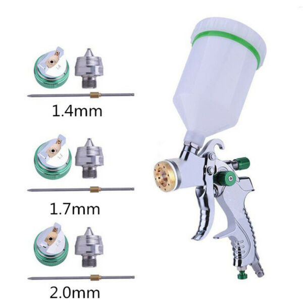 HVLP Paint Air Spray Gun Kit Gravity Feed Car Primer w/ 1.4MM 1.7MM 2.0MM Nozzle