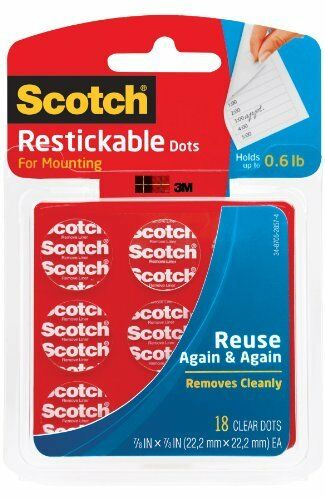 Scotch Restickable Dot 0.88quot; Width X 0.88quot; Length Removable Reusable