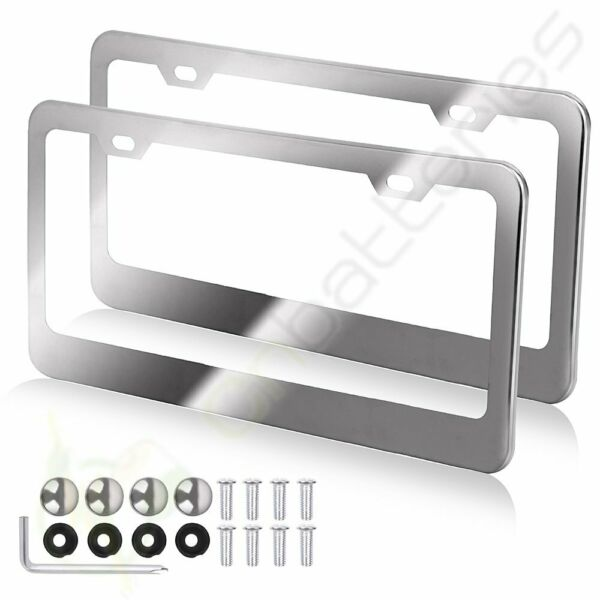 2x 2 Hole Metal License Plate Frame HD Stainless Steel Chrome for Audi/BMW/Acura