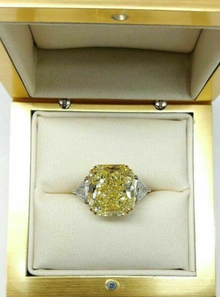 13.72 ct Radiant Cut Fancy Yellow Diamond Engagement Ring GIA Certified size 6.5