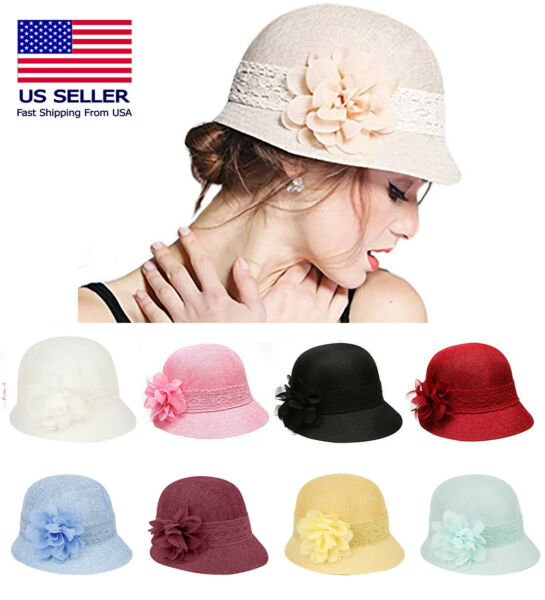 1920#x27;s Inspired Women#x27;s Gatsby Linen Cloche Hat With Lace Band and Flower $16.99