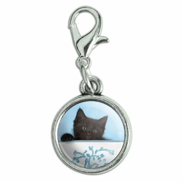 Black Kitten Cat in Bucket Tin Pail Antiqued Bracelet Charm with Lobster Clasp