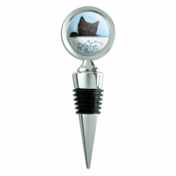 Black Kitten Cat in Bucket Tin Pail Wine Bottle Stopper