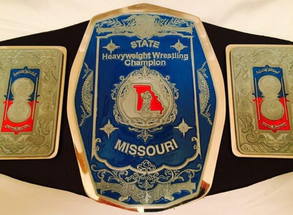 Missouri State Heavyweight Wrestling Champion Title Belt with Autographs Flair