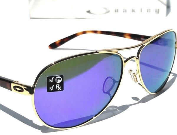 NEW* Oakley FEEDBACK Gold Tort Aviator POLARIZED Violet Womens Sunglass 4079 18 $178.88