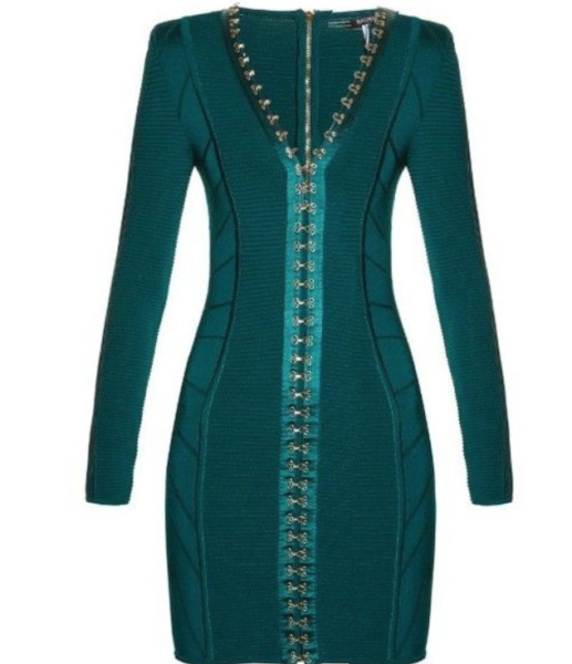 BALMAIN Green Fitted Hook Stretch Dress Size 38 french US6  *NEW*