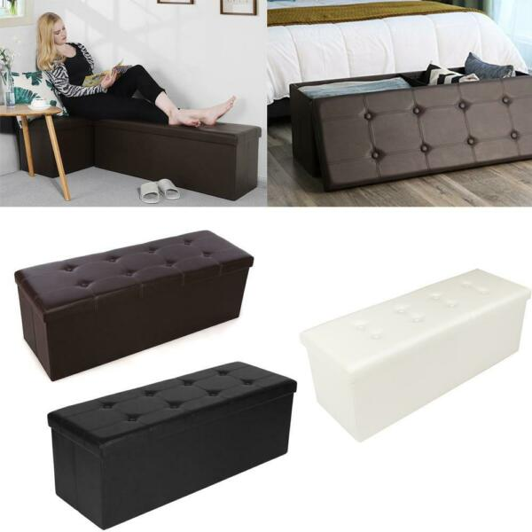43quot; L Leather Folding Storage Ottoman Bench Storage Chest Footrest Coffee Table