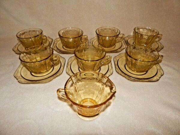 Vintage Federal Amber Madrid Coffee Tea Cups Saucers Creamer Lot of 7 Sets