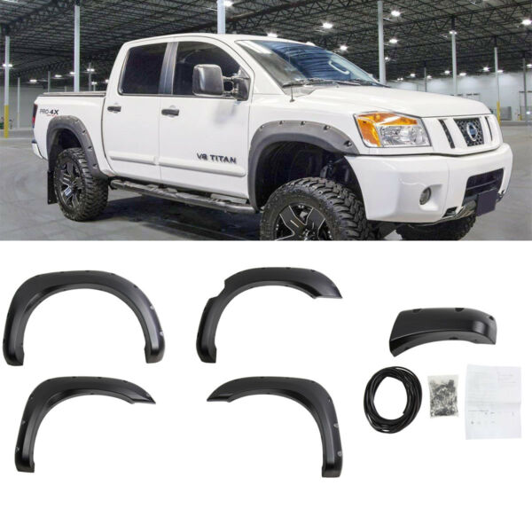Fits 04-15 Nissan Titan Pocket Rivet Style Textured Fender Flares Black ABS