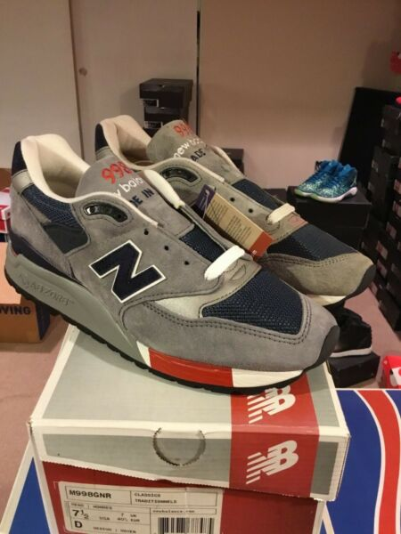SALE NEW BALANCE M998GNR Gray Blue Red Size 7.5 BRAND NEW IN HAND