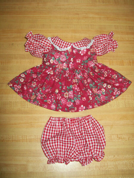 RED GINGHAM CHECK+ROSE FLOWER CALICO DRESS SET for 16-18