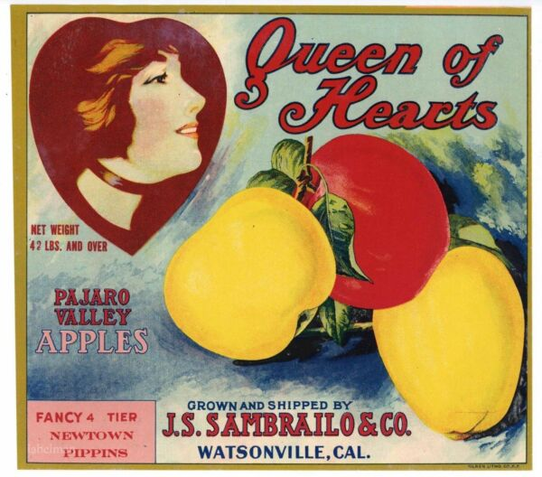QUEEN OF HEARTS Brand Watsonville **AN ORIGINAL APPLE FRUIT CRATE LABEL** 044