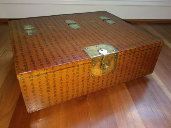 Antique Chinese Wooden Document Scroll Box Character Symbol Brass Hinge Lock vtg