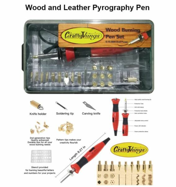 Wood and Leather Pyrography Crafts Pen Set 21 Pen Tips Dual Power Mode 15W30W