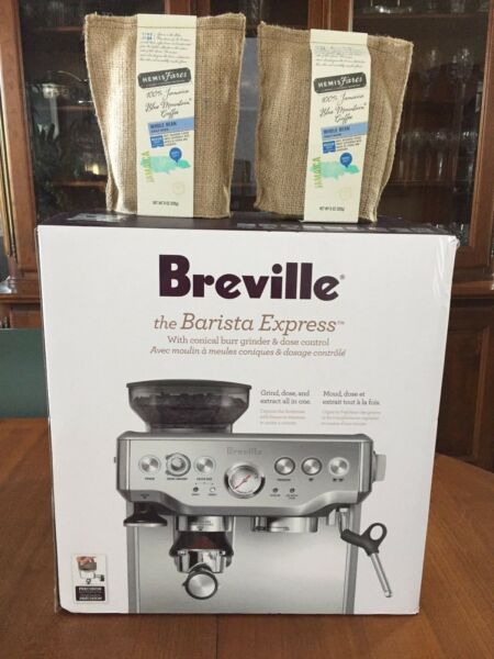 Breville Barista Express BES870XL Espresso Machine Stainless S. Plus JBM Coffee.