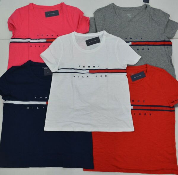 NWT Tommy Hilfiger Women#x27;s Tee T Shirt Blouse Short Sleeve Relaxed Fit $29.99