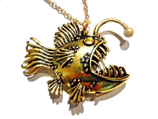DEEP SEA ANGLER FISH PENDANT glow in the dark lure ocean psychobilly necklace 6A